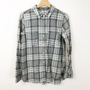 Old Navy Plaid Flannel Grey and White Button Down